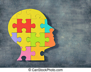 fej, emberi, puzzla