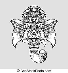 fej, ganesha, illustration., húzott, hindu, törzsi, kéz, póló, vektor, tervezés, elefánt, lord, style.
