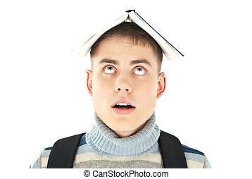 fej, háttér, ellen, könyv, diák, portré, fehér