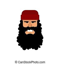 fej, lumberman., favágó, woodcutter, vektor, portrat., face.