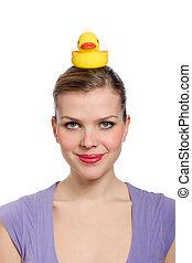 fej, nő, neki, sárga koton kacsa