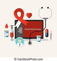fej, nyak, rák, orvosi betegség, egészség, piros white, szalag, bánásmód