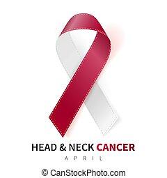 fej, nyak, rák, orvosi, tudatosság, elefántcsont, ábra, jelkép., gyakorlatias, vektor, burgundia, month., szalag, design.