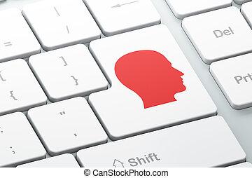 fej, számítógép, háttér, billentyűzet, oktatás, concept: