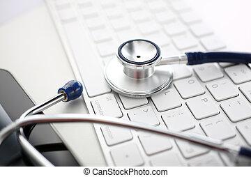 fej, worktable, hivatal, orvos, orvosi, sztetoszkóp, billentyűzet, ezüst, fekvő