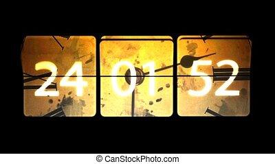 fejetlen, f hang, mozgató, clock., infinitely