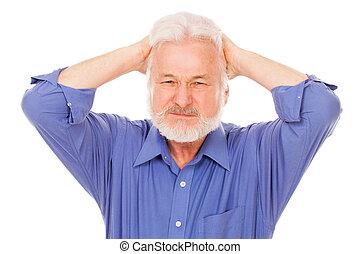 fejfájás, ember, bír, öregedő, jelentékeny