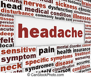 fejfájás, orvosi, poszter, tervezés