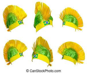 fejfedőkalap, rajongó, közül, a, brazíliai, nemzeti, befog