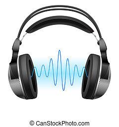 fejhallgató, és, zene, wave.