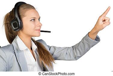 fejhallgató, üzletasszony, nyomás, megható, valami, vagy