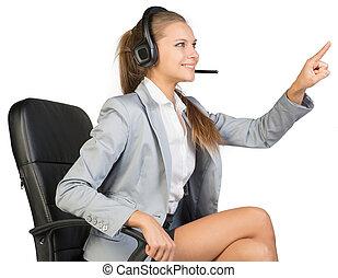 fejhallgató, hivatal, ülés, üzletasszony, nyomás, megható, valami, szék, vagy