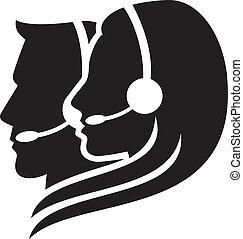 fejhallgató, jelkép, headset), (women