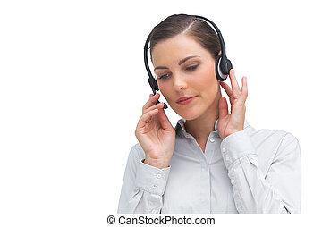 fejhallgató, kihallgatás, üzletasszony