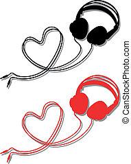 fejhallgató, noha, szív, vektor