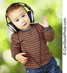 fejhallgató, p, zene hallgat, portré, imádnivaló, kölyök