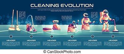 fejlődés, fogalom, robotok, vektor, takarítás, karikatúra