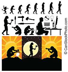 fejlődés, vektor, person., majom, ábra