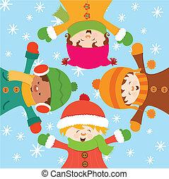 fejr, børn, sne