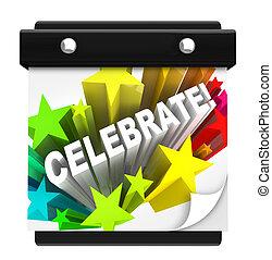 fejre, fyrværkerier, glose, på, kalender mur, ferie, ferie