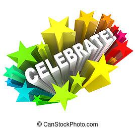 fejre, -, glose, ind, stjerner, jagt, by, oprør