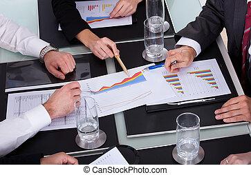 fejteget, businesspeople, hivatal, terv