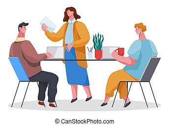 fejteget, tanácskozik, matters., emberek, laptops, betűk, fehér, munkás, hivatal, elszigetelt, ügy