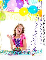 fejtető, születésnap, gyermek, fél, hercegnő, kölyök
