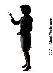 fekete, árnykép, beszélő, üzletasszony