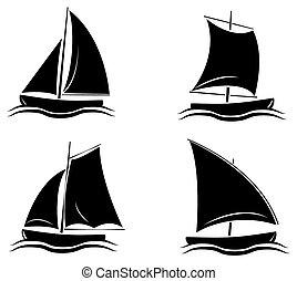fekete, árnykép, gyűjtés, csónakázik