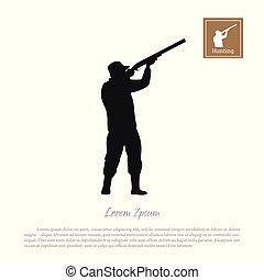 fekete, árnykép, közül, egy, vadász, képben látható, egy, fehér, háttér., ember, lövés, egy, pisztoly
