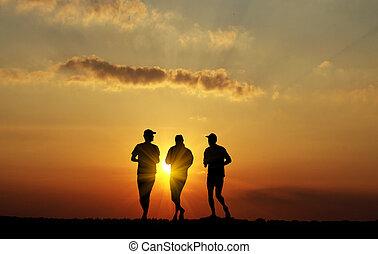 fekete, árnykép, közül, futás, férfiak