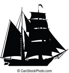 fekete, árnykép, közül, vitorlázás hajó