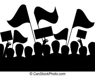 fekete, áttekintés, emberek, utca, zászlók, tiltakozás, vektor, fehér, háttér., protests., ábra, halom