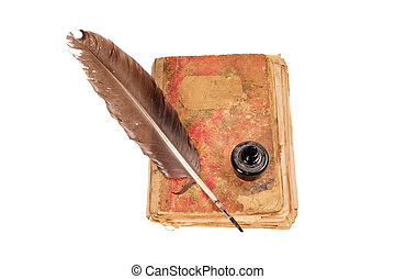 fekete, öreg, könyv, madártoll, tinta