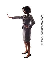 fekete, üzletasszony, gesturnig, abbahagy