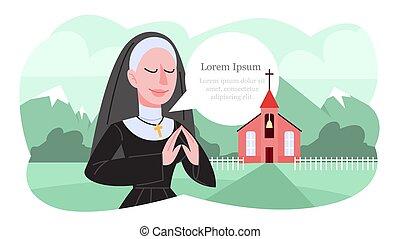 fekete, apáca, clothes., vektor, ábra, imádkozás, hagyományos, katolikus