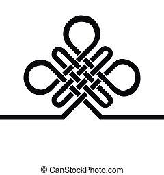 fekete, auspicious, buddhista, knot., sablon, jelkép., vég ...