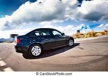 fekete, autó, szándék