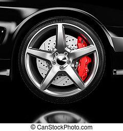 fekete, autó tol, és, fék, closeup