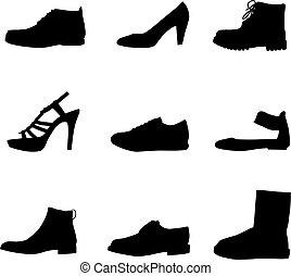 fekete, cipők, körvonal