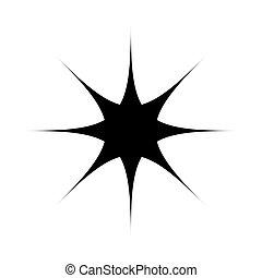 fekete, csillag, azt, ikon