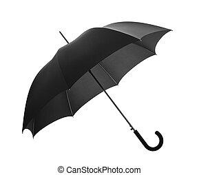 fekete, darabka, esernyő, út