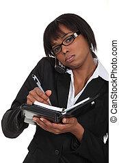 fekete, elfoglalt, businesswoman.