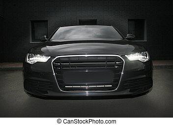 fekete, erős, sportkocsi