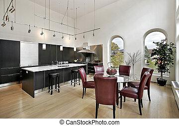 fekete, fényűzés, cabinetry, konyha