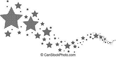 fekete-fehér, csillaggal díszít