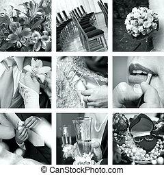 fekete-fehér, esküvő, fénykép