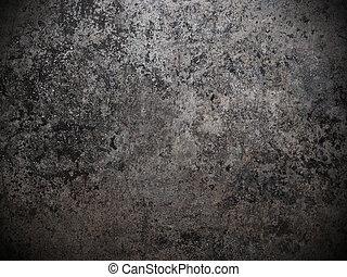 fekete, fehér, fém, koszos, háttér
