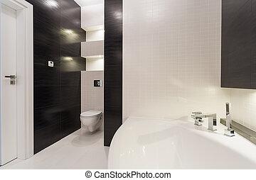 fekete-fehér, fürdőszoba